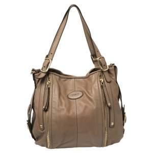"""حقيبة يد توتس تودز """"جي-لاين ايزي ساكا"""" جلد بني فاتح"""
