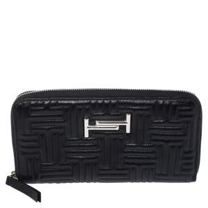Tod's Black Quilted Leather Double T Zip Around Wallet