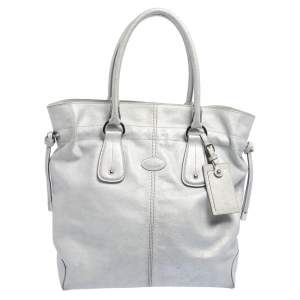 Tod's Silver Leather Restyling D Bag Media Tote