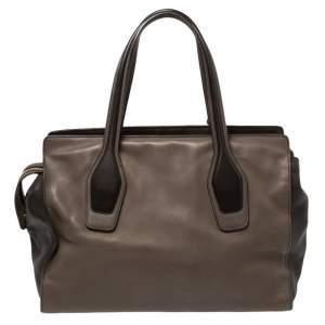 Tod's Dark Brown/Grey Leather Zip Tote