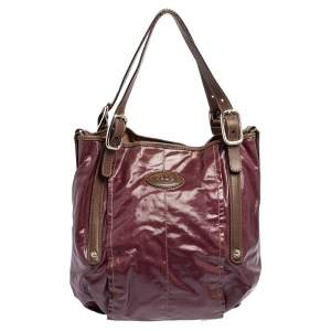 Tod's Purple/Brown Coated Canvas And Leather Shoulder Bag
