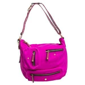 Tod's Pink/Black Nylon And Leather Embellished Hobo