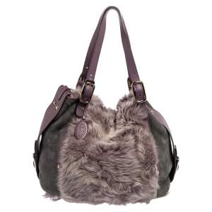 Tod's Grey/Purple Leather, Suede and Faux Fur Tote