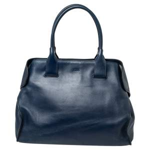 Tod's Blue Leather Cape Tote