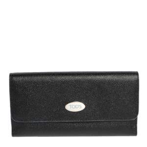 Tod's Black Leather Plaque Logo Continental Flap Wallet