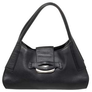 Tod's Black Leather Flap Hobo