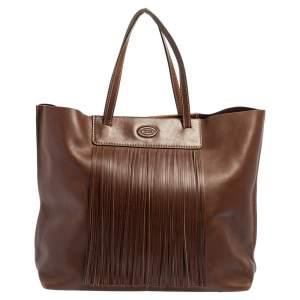 Tod's Brown Leather Fringe Media Shopper Tote