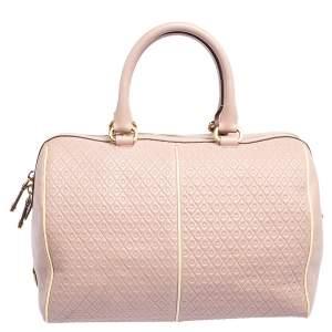 Tod's Pink/White Signature Leather Boston Bag
