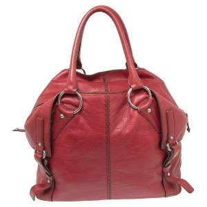 Tod's Red Leather Folded Tote
