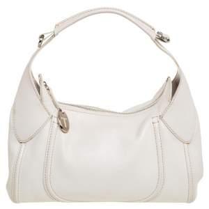 Tod's White Leather Zip Hobo
