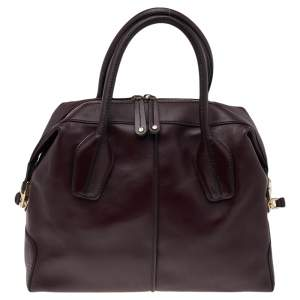 Tod's Burgundy Leather D-Styling Satchel