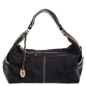 Tod's Black Leather and Canvas Shoulder Bag
