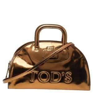 Tod's Metallic Gold Patent Leather Satchel