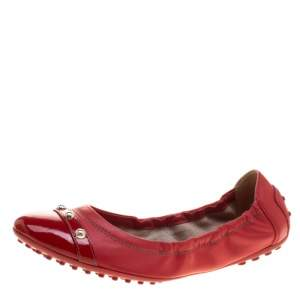 Tod's Red Leather Studs Detail Scrunch Ballet Flats Size 37