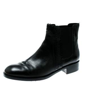 Tod's Black Leather Lazer-Cut Chelsea Ankle Boots Size 37.5