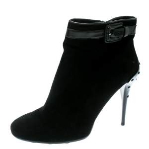 Tod's Black Suede Buckle Detail Ankle Booties Size 40