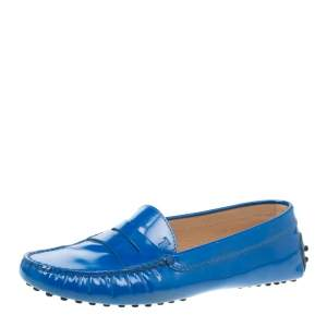 Tod's Blue Patent Leather Penny Loafers Size 36.5