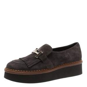 Tod's Dark Grey Suede Kiltie Fringe Double T Platform Loafers Size 38