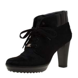 Tod's Black Calf Hair And Leather Trim Lace Up Ankle Boots Size 37.5
