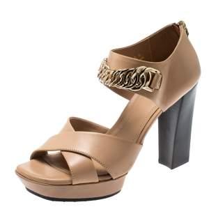 Tod's Beige Leather Cross Strap Chain Link Block Heel Sandals Size 36.5