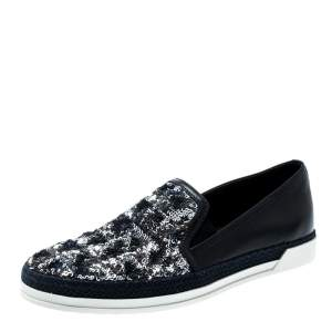 Tod's Blue Leather Sequin Embellished Espadrille Slip On Sneakers Size 37