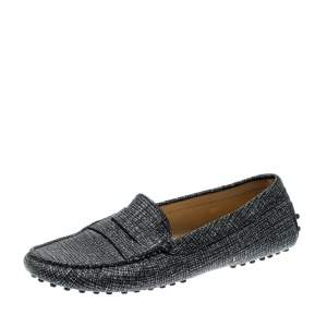 Tod's Black And Glitter Textured Leather Gommini Slip On Loafers Size 39.5