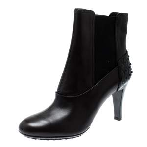 Tod's Dark Brown Leather Ankle Boots Size 37.5