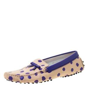 Tod's Purple/Beige Polka Dot Leather Bow Loafers Size 39