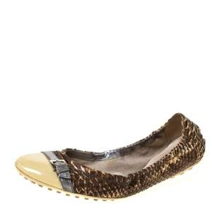 Tod's Brown/Cream Python and Patent Leather Cap Toe Buckle Scrunch Ballet Flats Size 38