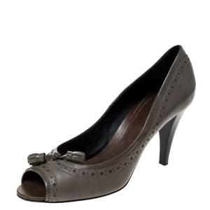 Tod's Grey Leather Tassel Peep Toe Pumps Size 39