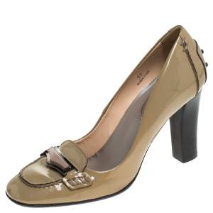 Tod's Beige Patent Leather Block Heel Loafer Pumps Size 37