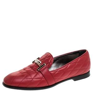 Tod's Red Quilted Leather Double T Slip On Loafers Size 37.5