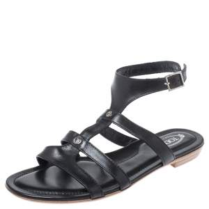 Tod's Black Leather Logo Studded Strappy Flat Sandals Size 38