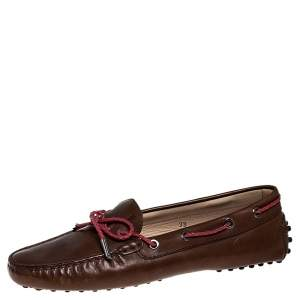 Tod's Brown Leather Gommino Driving Loafers Size 38