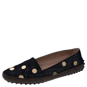 Tod's Dark Wash Denim Studded Espadrille Flats Size 38