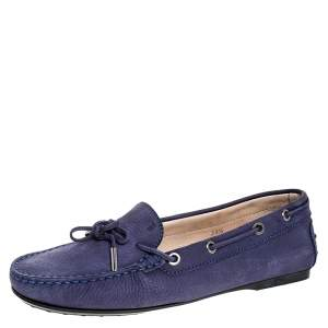 Tod`s Purple Nububk Leather Bow Gommino Loafers Size 38.5