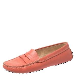 Tod's Coral Orange Leather Penny Loafers Size 36.5