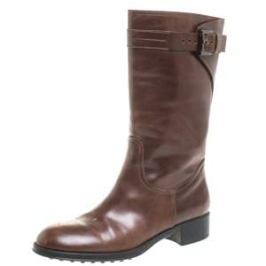 Tod's Brown Leather Mid Calf Buckle Detail Biker Boots Size 38