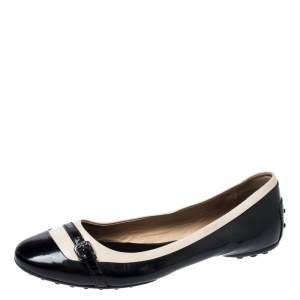 Tod's Black/White Patent Leather And Leather Buckle Detail Ballet Flats Size 40