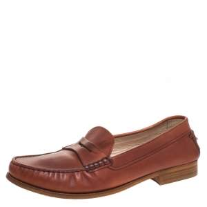 Tod's Brown Leather Penny Slip On Loafers Size 40