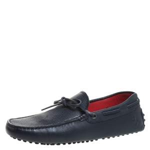Tod's for Ferrari Navy Blue Leather Bow Loafers Size 40.5