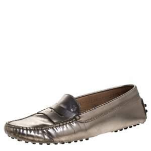 حذاء لوفرز تودز بيني جلد ميتالك مقاس 36.5