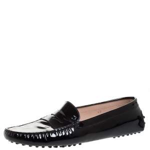 Tod's Black Patent Leather Penny Slip On Loafers Size 42