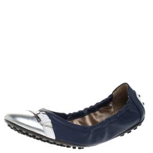 Tod's Blue/Silver Leather Cap Toe Scrunch Ballet Flats Size 36.5