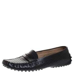 حذاء بيني لوفرز تودز جلد أسود مثقب سليب أون مقاس 37