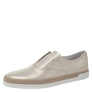 Tod's Gold/White Textured Leather Francesina Espadrille Slip On Sneakers Size 38.5