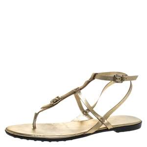 Tod's Gold Leather Studded Buckle Detail Ankle Wrap Flat Sandals Size 38