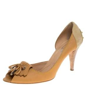 Tod's Beige Suede And Leather Bow Fringe Detail D Orsay Peep Toe Pumps Size 39.5