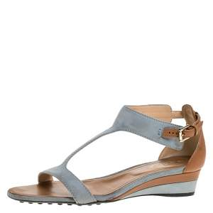 Tod's Blue/Brown Suede And Leather T-Bar Wedge Ankle Strap Sandals Size 36
