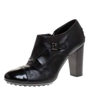 Tod's Black Leather Cap Toe Block Heel Booties Size 38